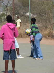 Teen Club members playing netball. (Photo courtesy of Kim Mehta)