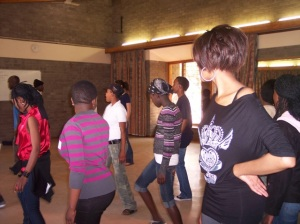 Gaborone Teen Club members at a Latin and Hip-Hop dancing session.  Photo courtesy of Leigh Howard.